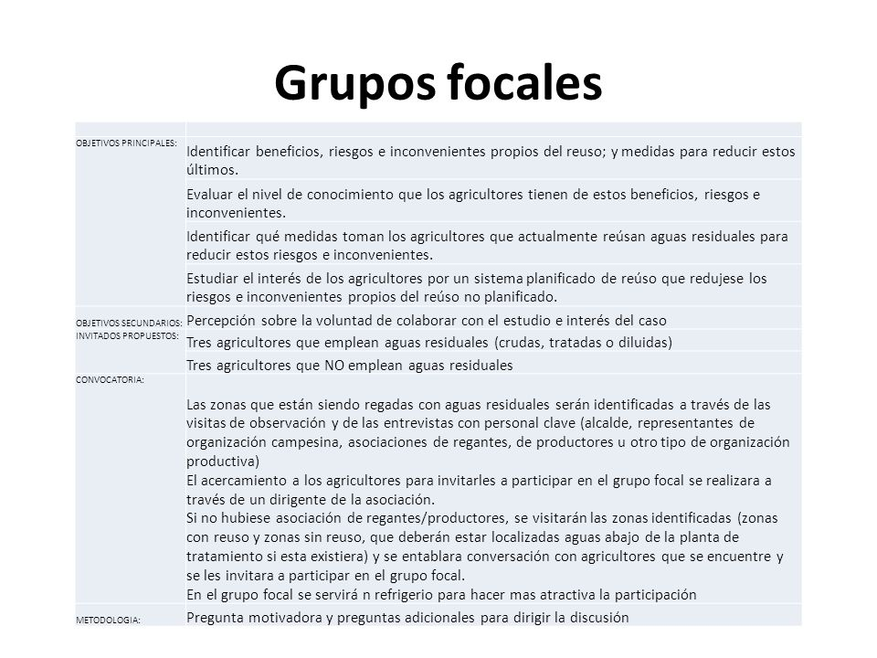 Grupos focalesOBJETIVOS PRINCIPALES: Identificar beneficios, riesgos e inconvenientes propios del reuso; y medidas para reducir estos últimos.