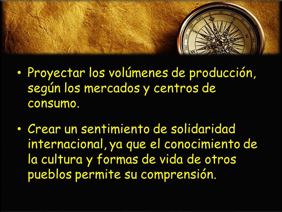 Proyectar los volúmenes de producción, según los mercados y centros de consumo.