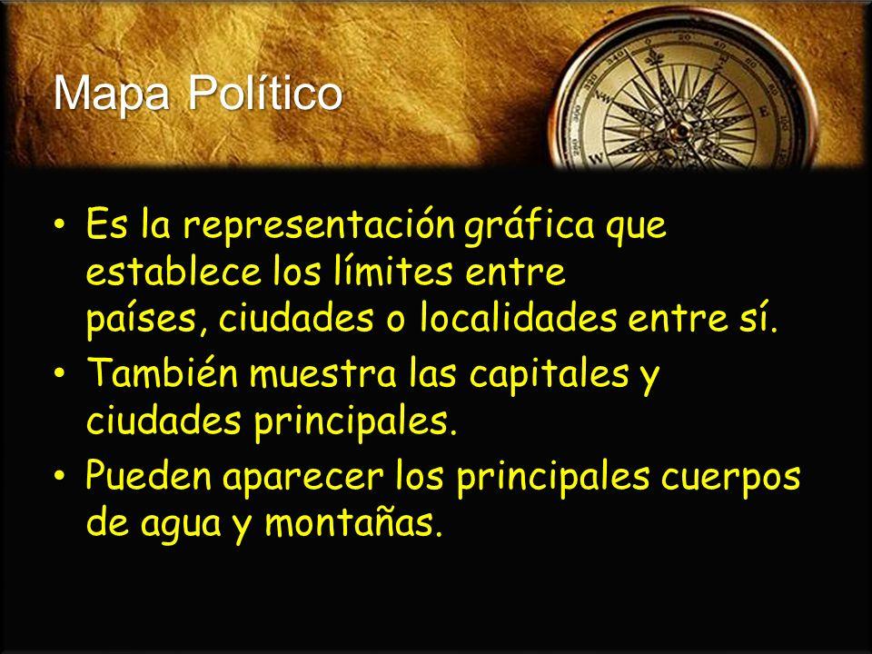Mapa Político Es la representación gráfica que establece los límites entre países, ciudades o localidades entre sí.
