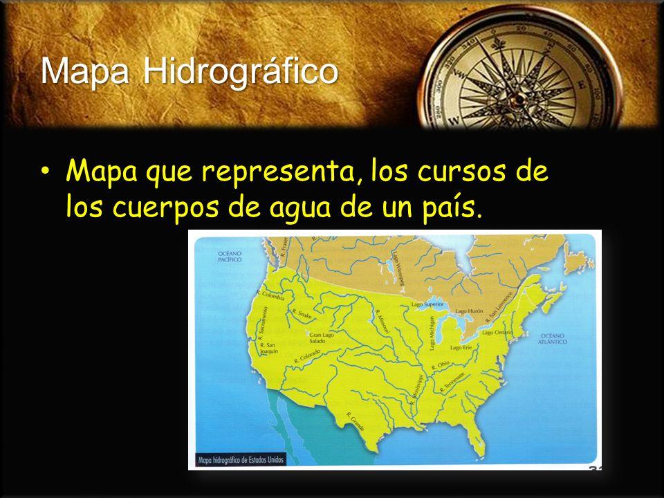 Mapa Hidrográfico Mapa que representa, los cursos de los cuerpos de agua de un país.