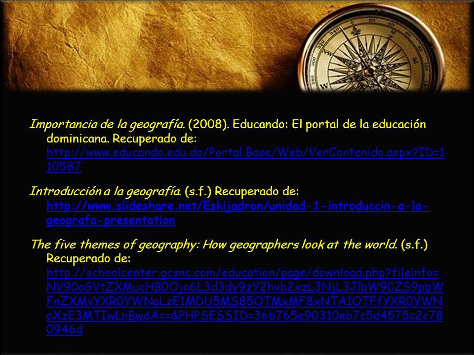Importancia de la geografía. (2008)