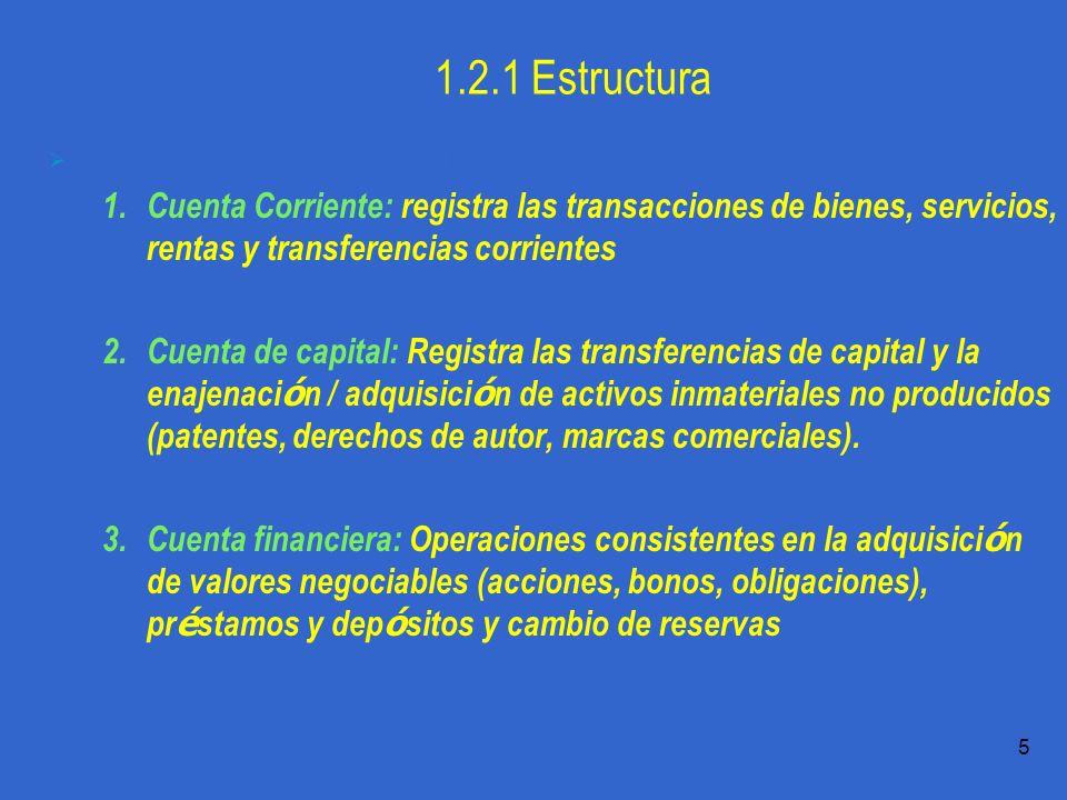 1.2.1 Estructura La Balanza de Pagos es estructura en torno a tres cuentas básicas: