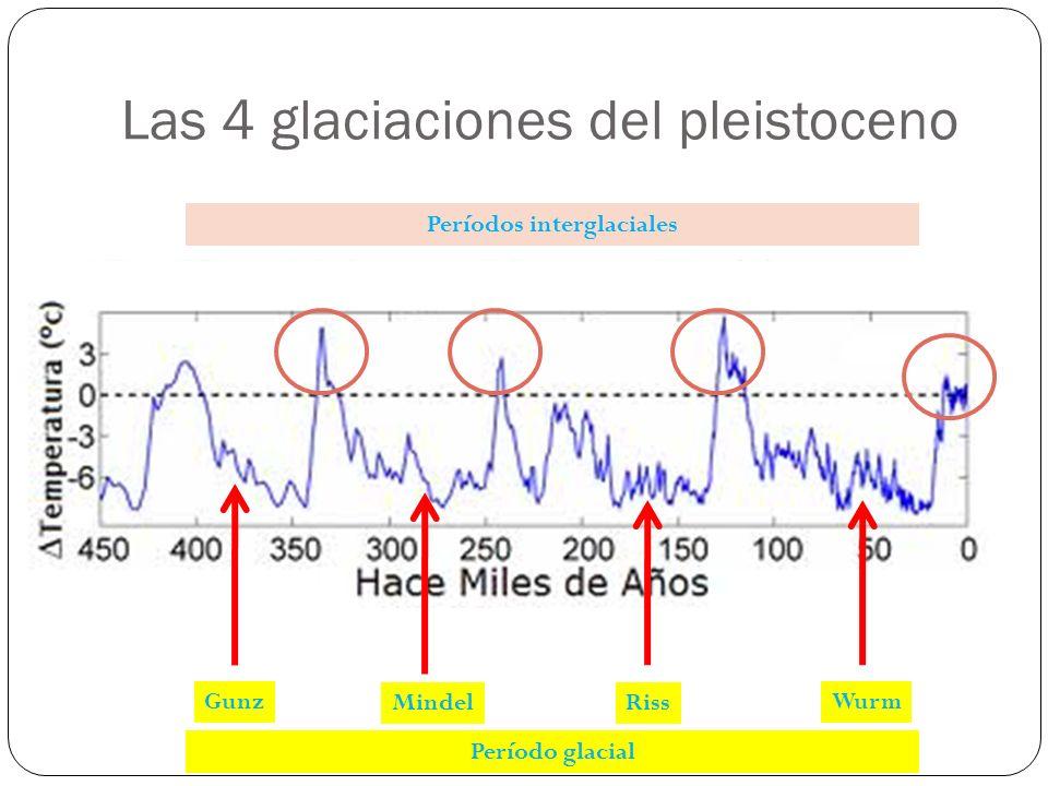 Las 4 glaciaciones del pleistoceno