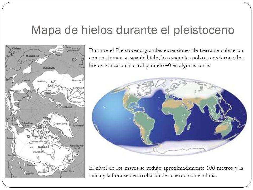 Mapa de hielos durante el pleistoceno