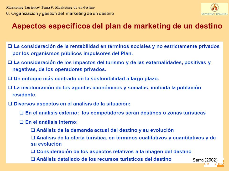 Aspectos específicos del plan de marketing de un destino