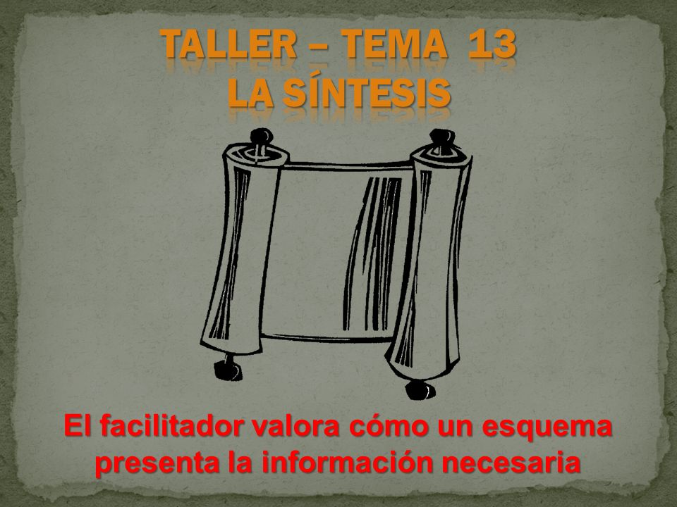 TALLER – TEMA 13 LA SÍNTESIS