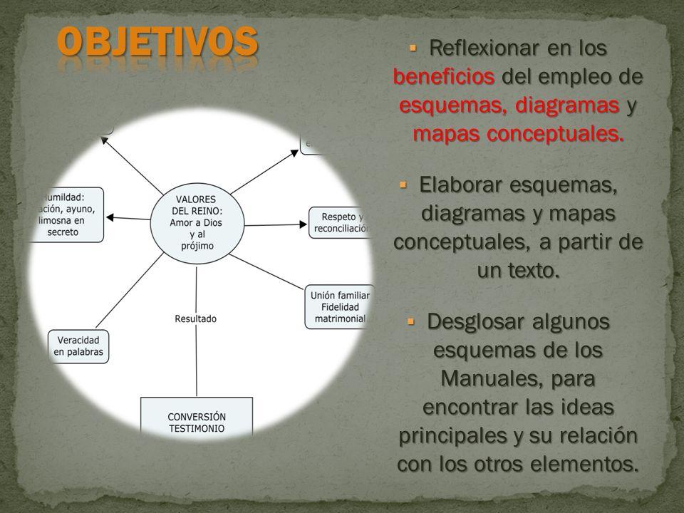 OBJETIVOS Reflexionar en los beneficios del empleo de esquemas, diagramas y mapas conceptuales.