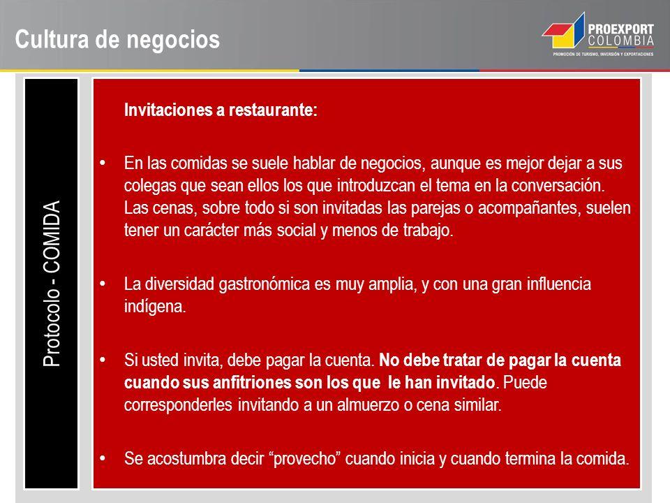Cultura de negocios Protocolo - COMIDA Invitaciones a restaurante: