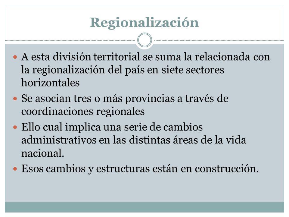 Regionalización A esta división territorial se suma la relacionada con la regionalización del país en siete sectores horizontales.