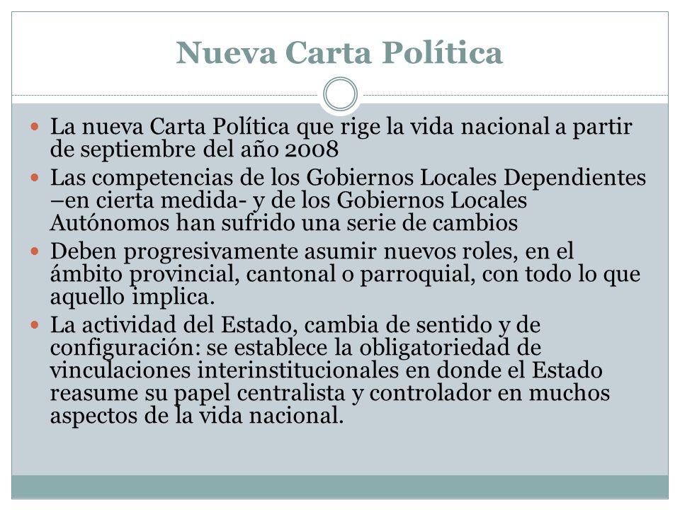 Nueva Carta Política La nueva Carta Política que rige la vida nacional a partir de septiembre del año 2008.