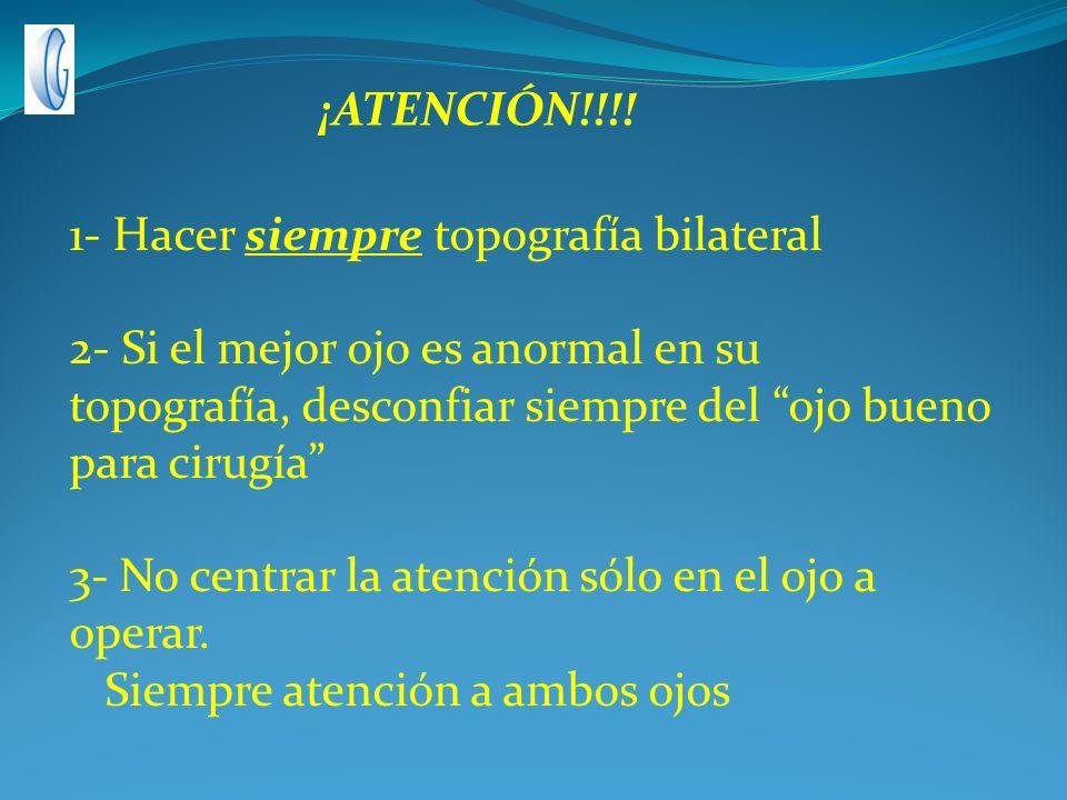 ¡ATENCIÓN!!!! 1- Hacer siempre topografía bilateral.