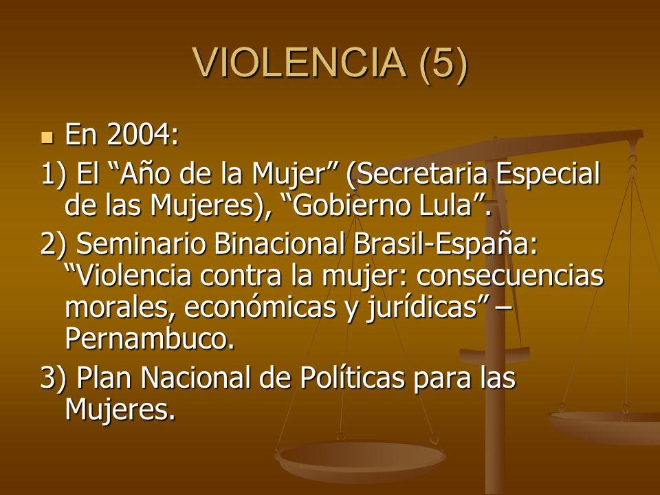 VIOLENCIA (5) En 2004: 1) El Año de la Mujer (Secretaria Especial de las Mujeres), Gobierno Lula .