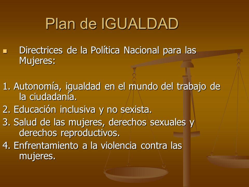 Plan de IGUALDAD Directrices de la Política Nacional para las Mujeres: