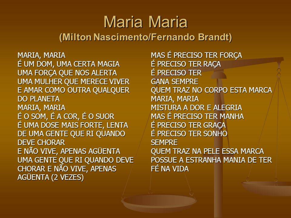 Maria Maria (Milton Nascimento/Fernando Brandt)