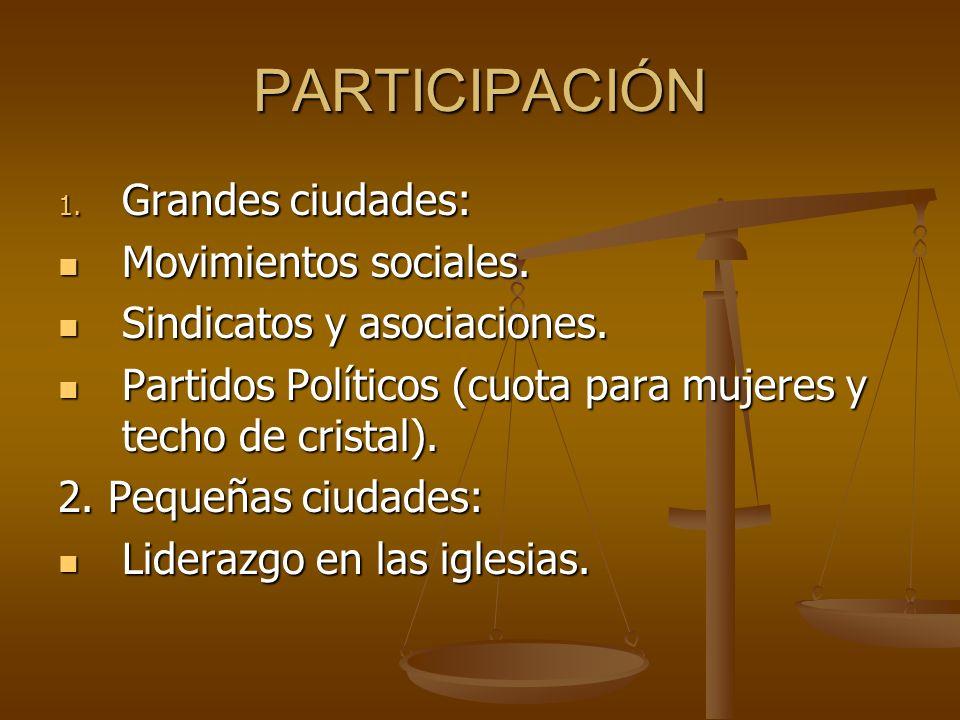 PARTICIPACIÓN Grandes ciudades: Movimientos sociales.