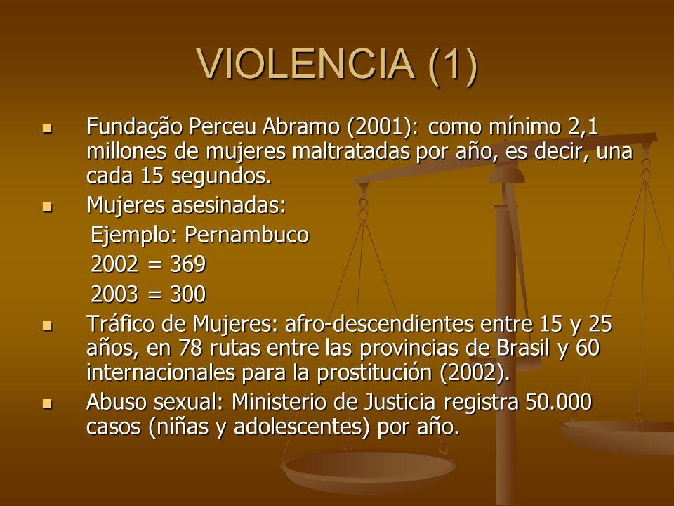 VIOLENCIA (1) Fundação Perceu Abramo (2001): como mínimo 2,1 millones de mujeres maltratadas por año, es decir, una cada 15 segundos.