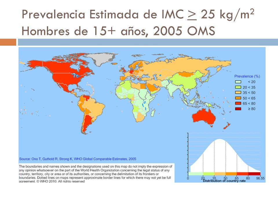 Prevalencia Estimada de IMC > 25 kg/m2 Hombres de 15+ años, 2005 OMS
