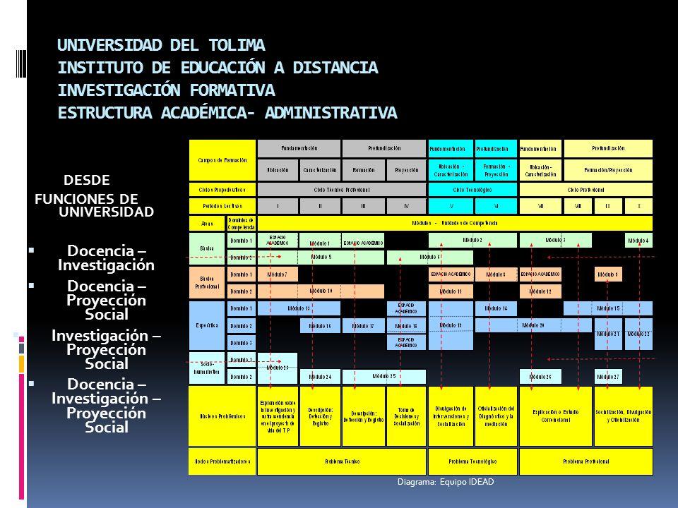 UNIVERSIDAD DEL TOLIMA INSTITUTO DE EDUCACIÓN A DISTANCIA INVESTIGACIÓN FORMATIVA ESTRUCTURA ACADÉMICA- ADMINISTRATIVA