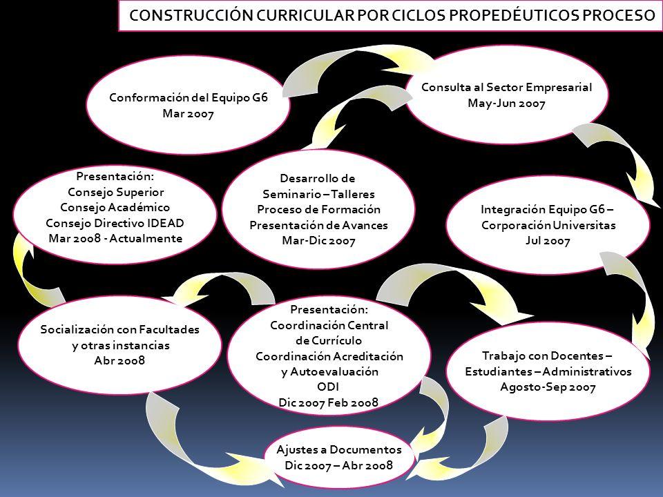 CONSTRUCCIÓN CURRICULAR POR CICLOS PROPEDÉUTICOS PROCESO