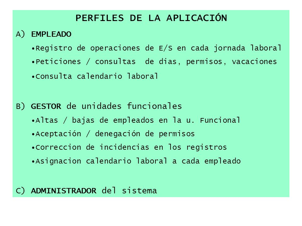 PERFILES DE LA APLICACIÓN