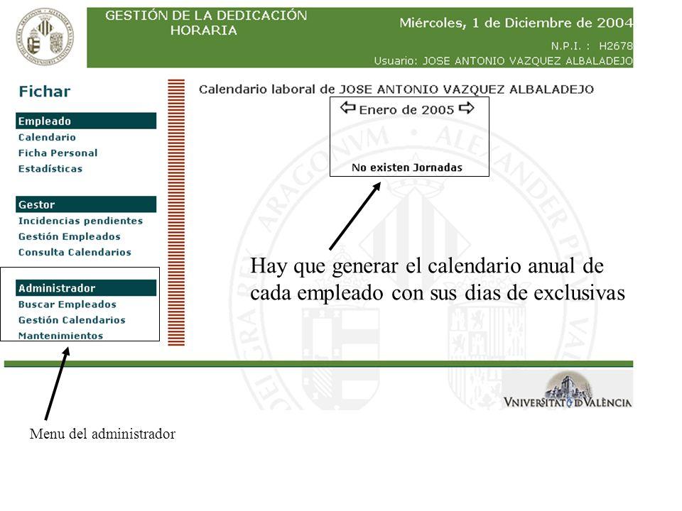 Hay que generar el calendario anual de
