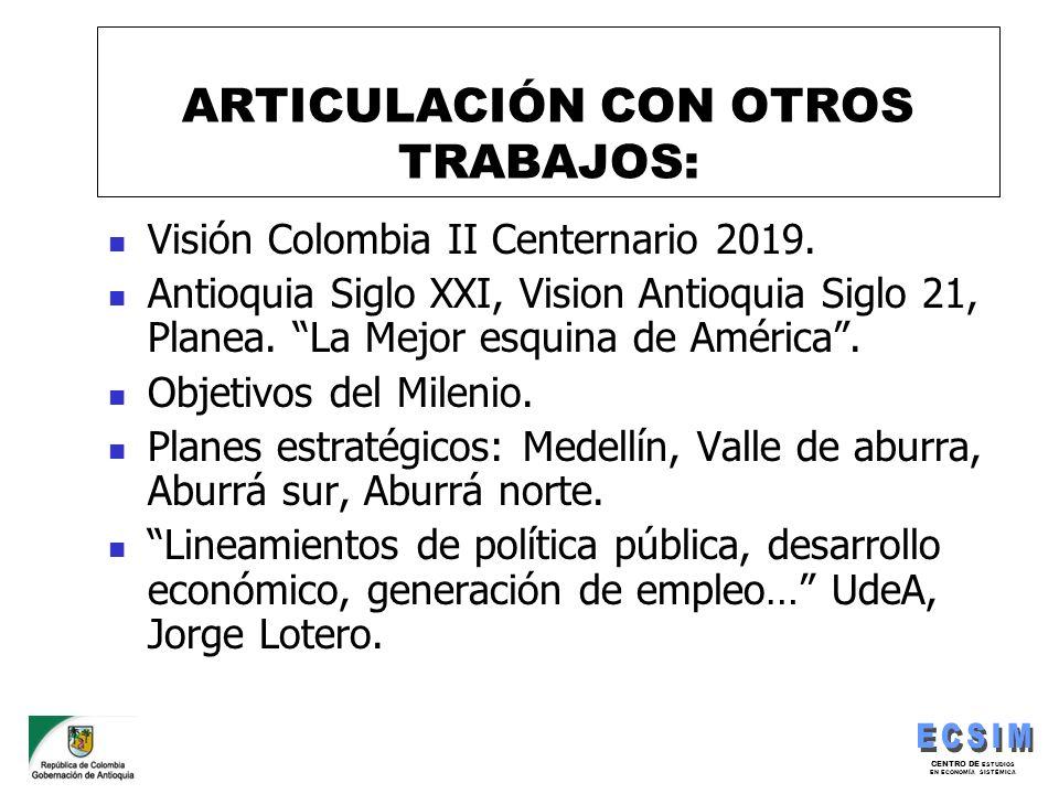 ARTICULACIÓN CON OTROS TRABAJOS: