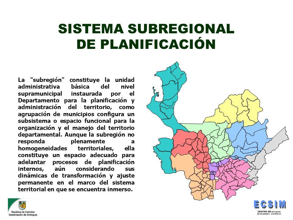SISTEMA SUBREGIONAL DE PLANIFICACIÓN