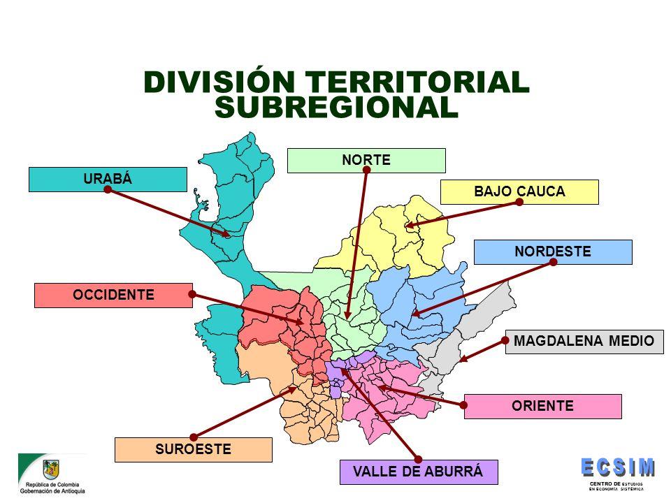DIVISIÓN TERRITORIAL SUBREGIONAL