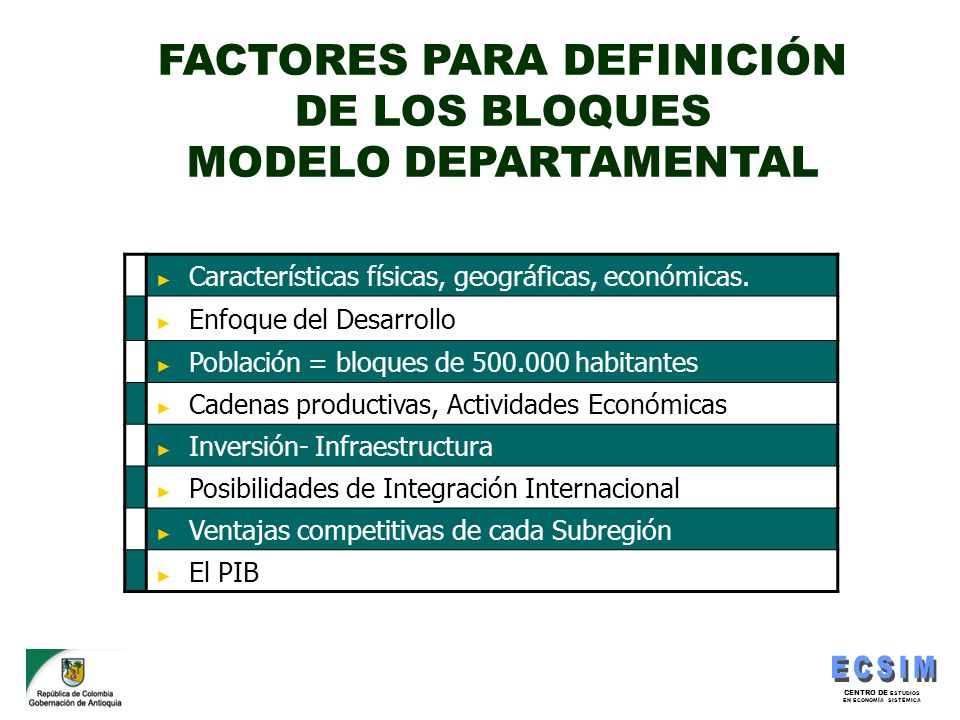 FACTORES PARA DEFINICIÓN DE LOS BLOQUES MODELO DEPARTAMENTAL