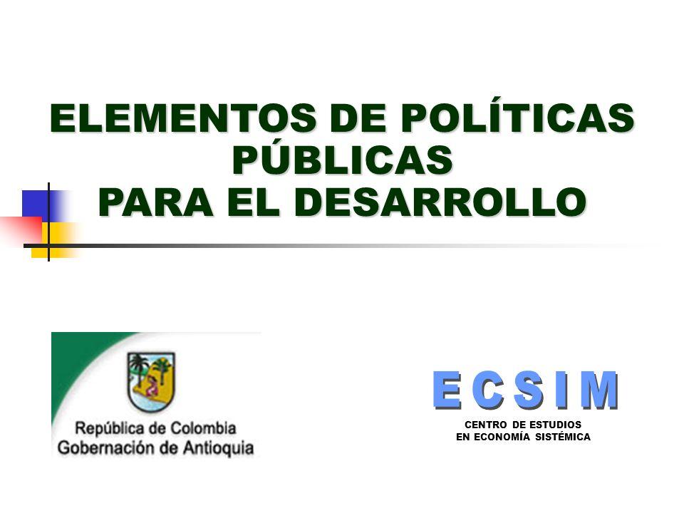 ELEMENTOS DE POLÍTICAS PÚBLICAS PARA EL DESARROLLO
