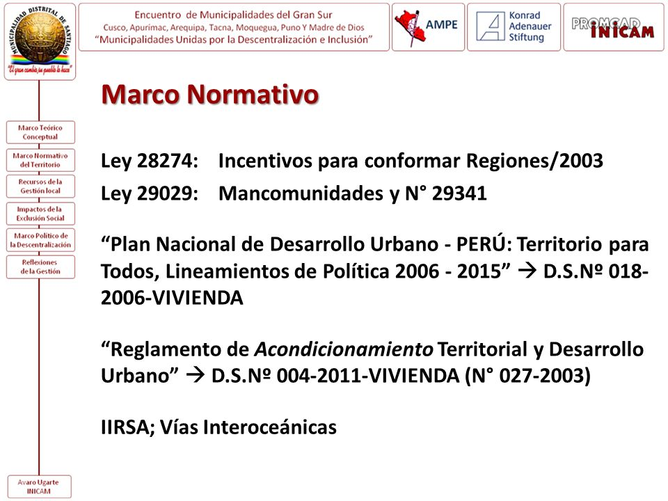 Marco Normativo Ley 28274: Incentivos para conformar Regiones/2003
