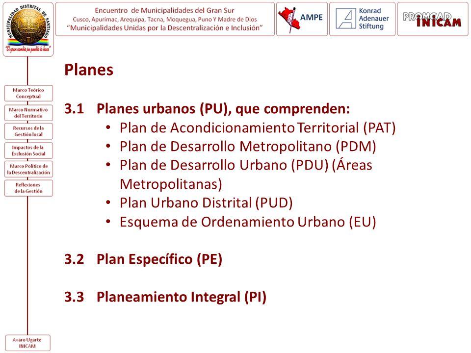 Planes 3.1 Planes urbanos (PU), que comprenden: