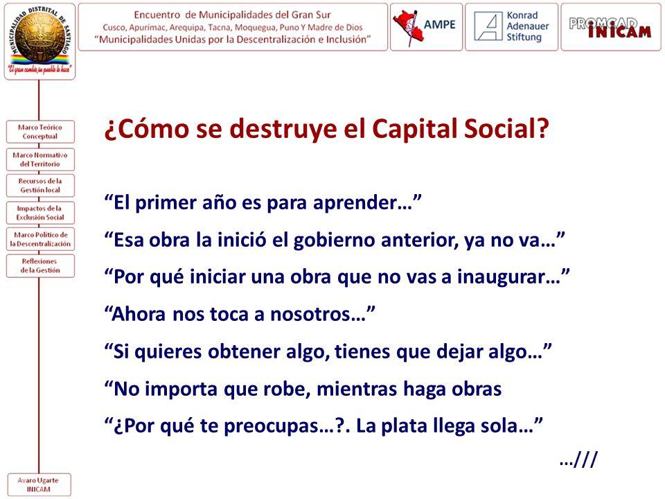 ¿Cómo se destruye el Capital Social