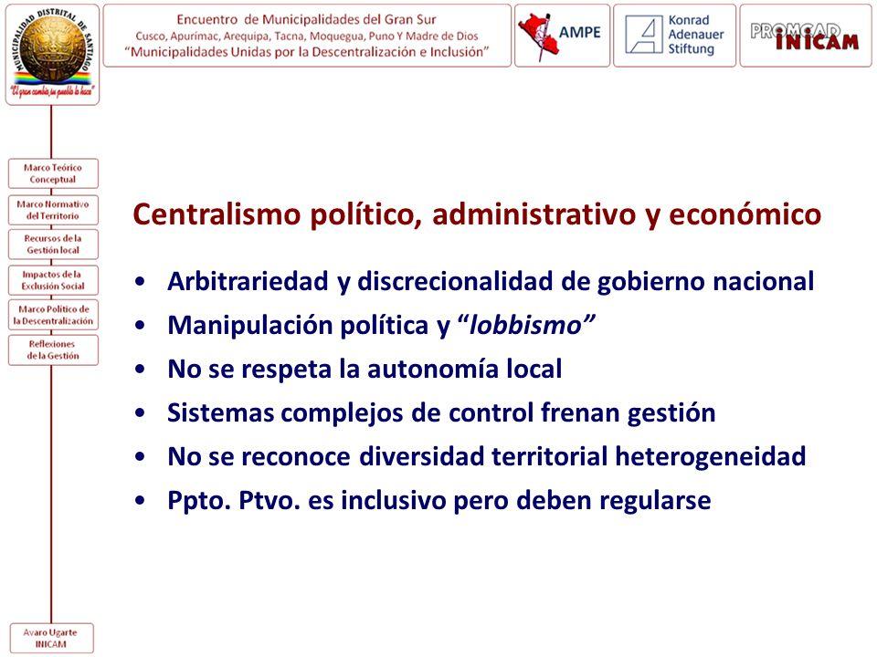 Centralismo político, administrativo y económico