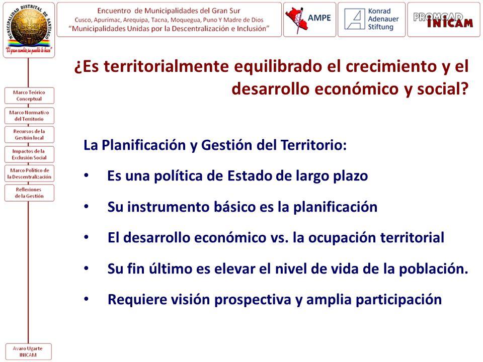 ¿Es territorialmente equilibrado el crecimiento y el desarrollo económico y social