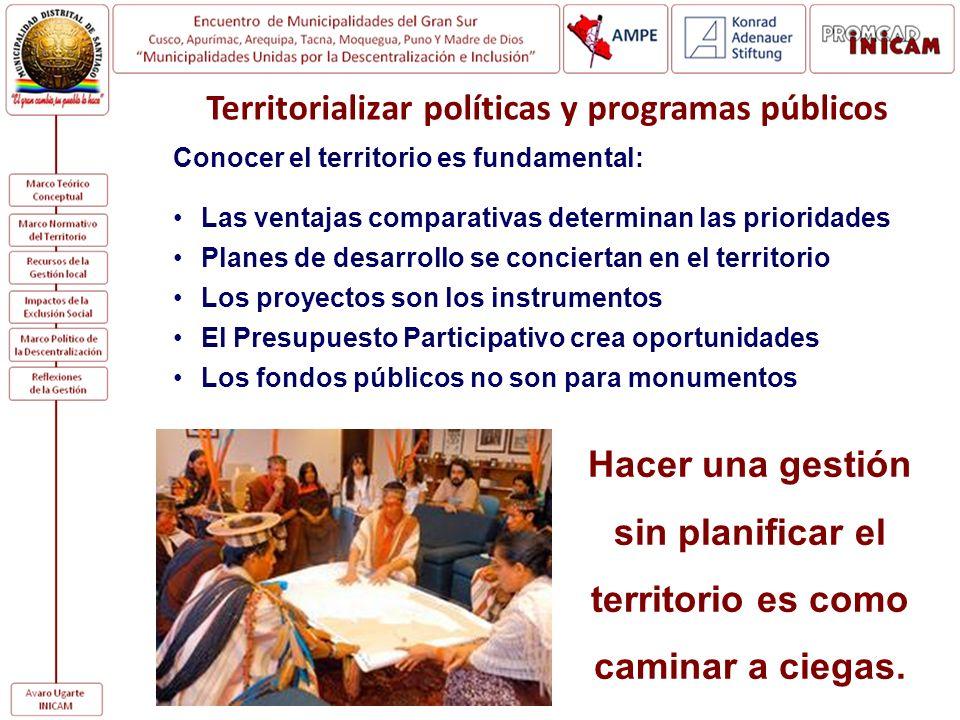 Territorializar políticas y programas públicos