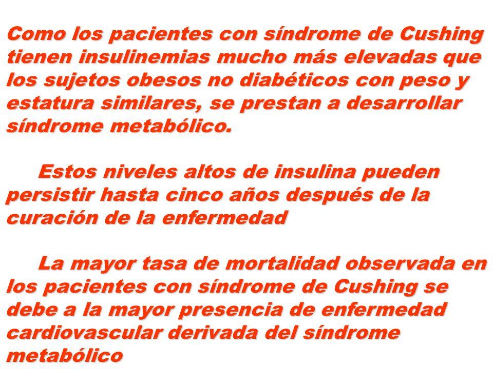 Como los pacientes con síndrome de Cushing tienen insulinemias mucho más elevadas que los sujetos obesos no diabéticos con peso y estatura similares, se prestan a desarrollar síndrome metabólico.