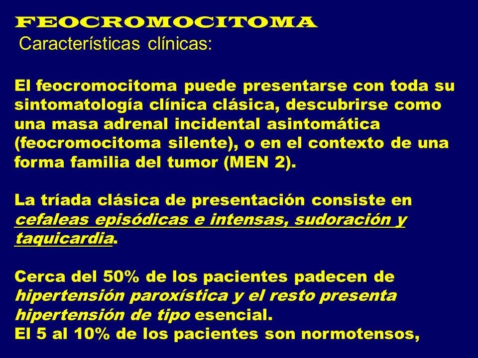 FEOCROMOCITOMA Características clínicas: