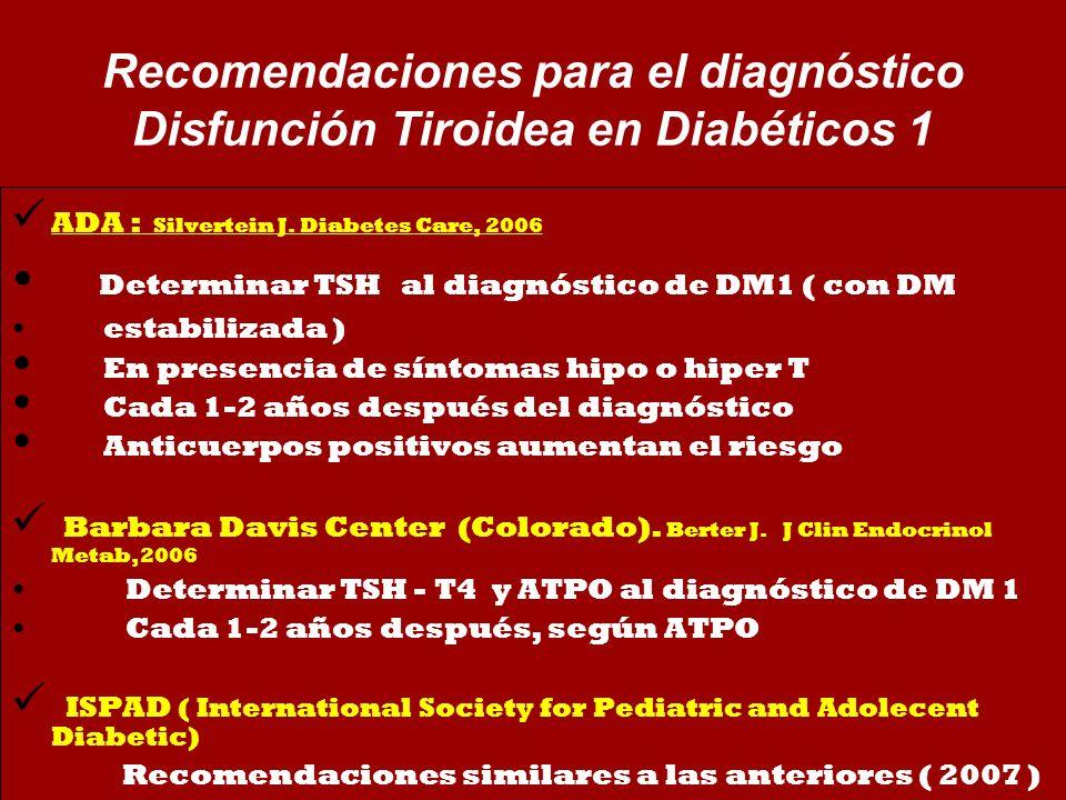 Determinar TSH al diagnóstico de DM1 ( con DM