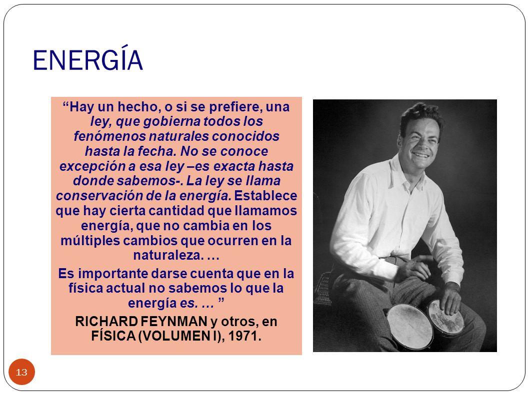 RICHARD FEYNMAN y otros, en FÍSICA (VOLUMEN I), 1971.