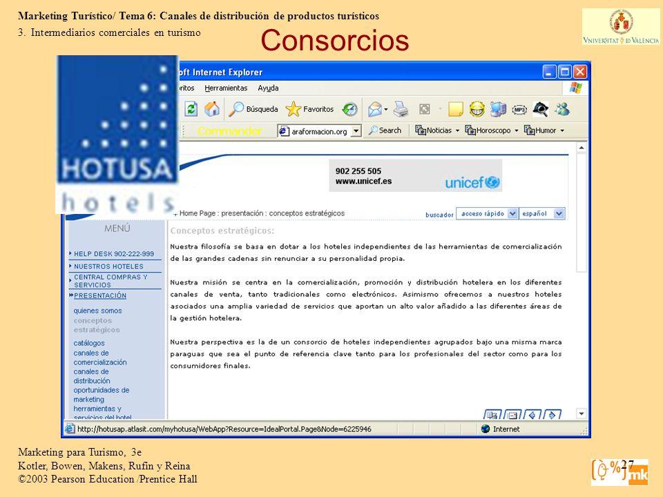 Consorcios Intermediarios comerciales en turismo