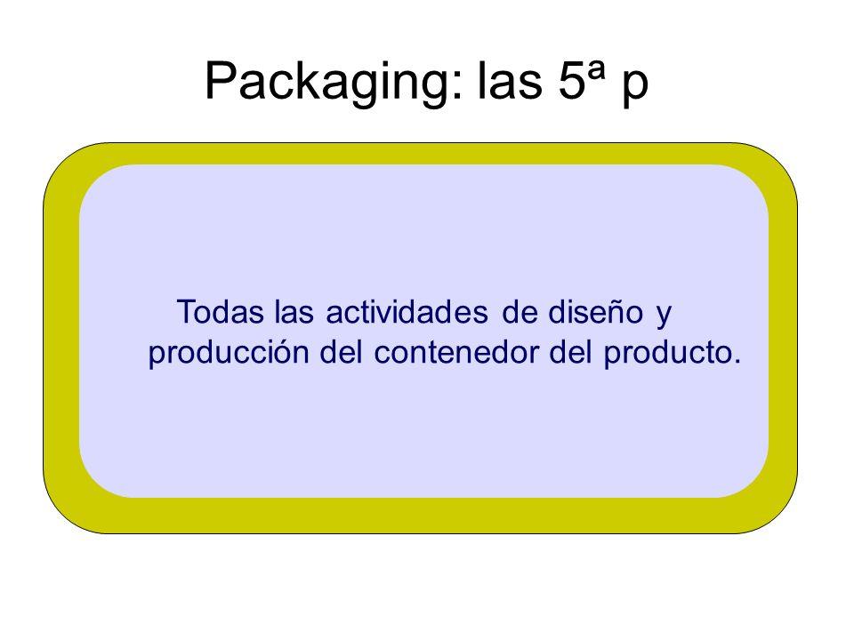 Packaging: las 5ª p Todas las actividades de diseño y producción del contenedor del producto.
