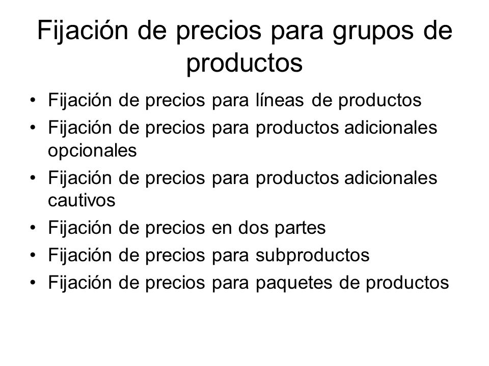 Fijación de precios para grupos de productos