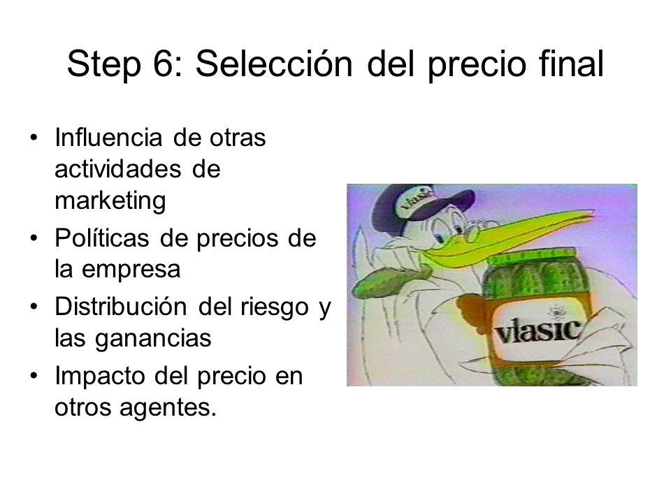 Step 6: Selección del precio final