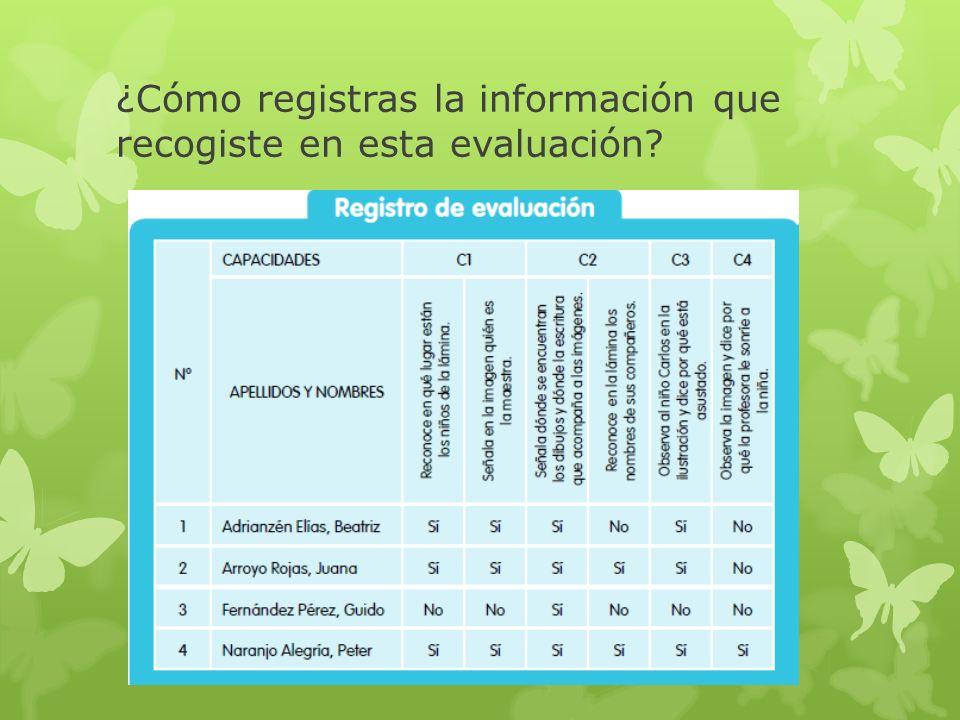 ¿Cómo registras la información que recogiste en esta evaluación