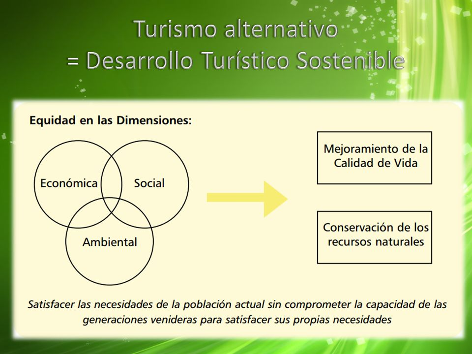 Turismo alternativo = Desarrollo Turístico Sostenible