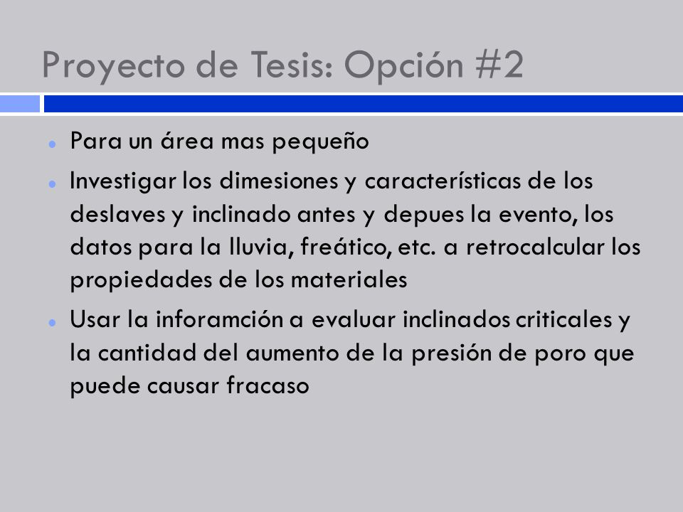 Proyecto de Tesis: Opción #2