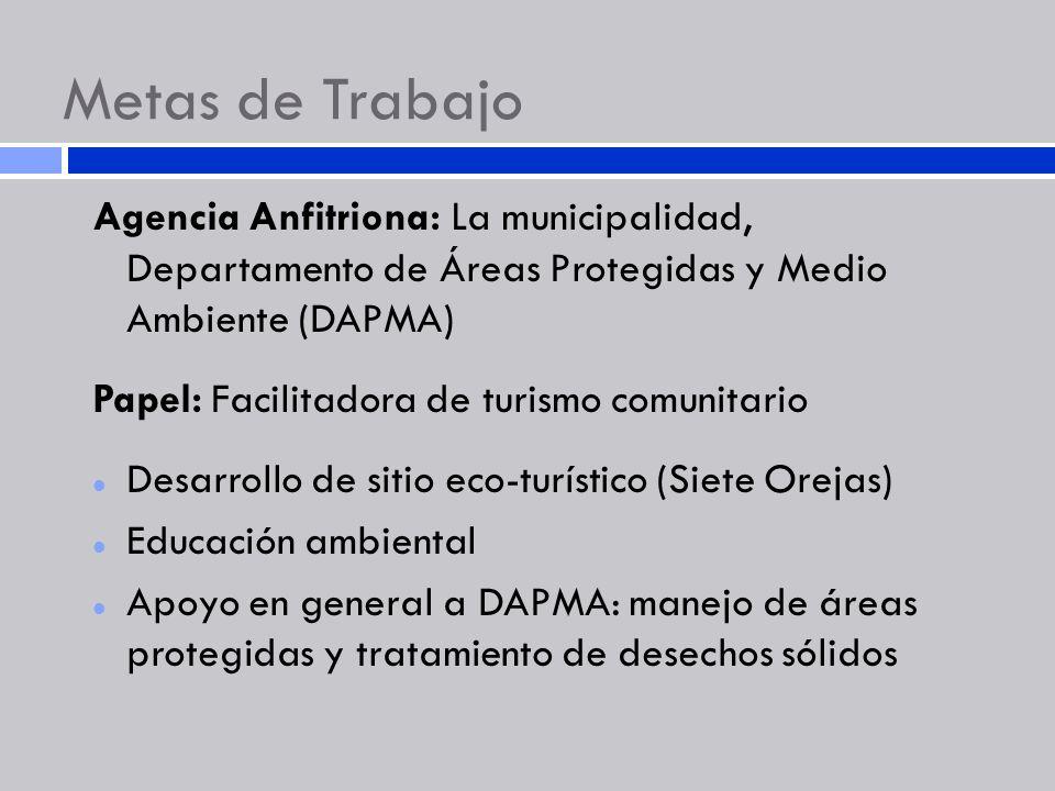 Metas de Trabajo Agencia Anfitriona: La municipalidad, Departamento de Áreas Protegidas y Medio Ambiente (DAPMA)
