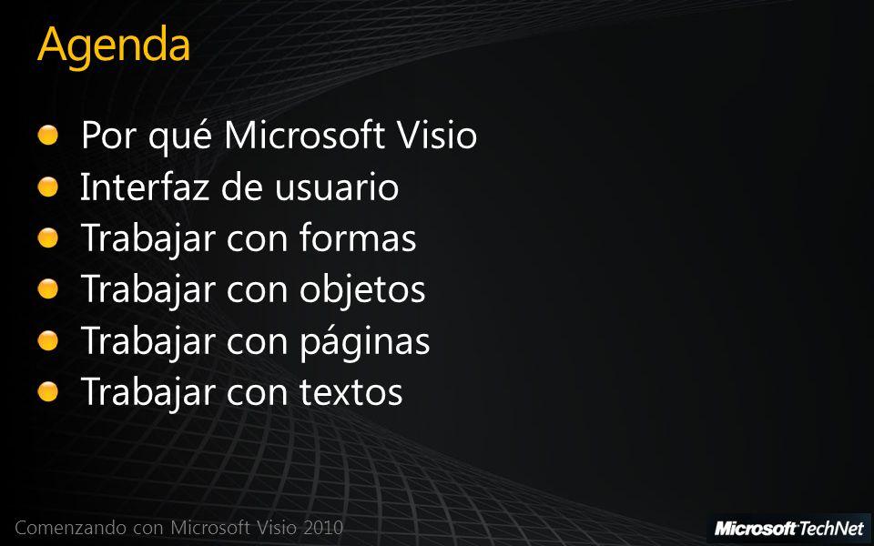 Agenda Por qué Microsoft Visio Interfaz de usuario Trabajar con formas