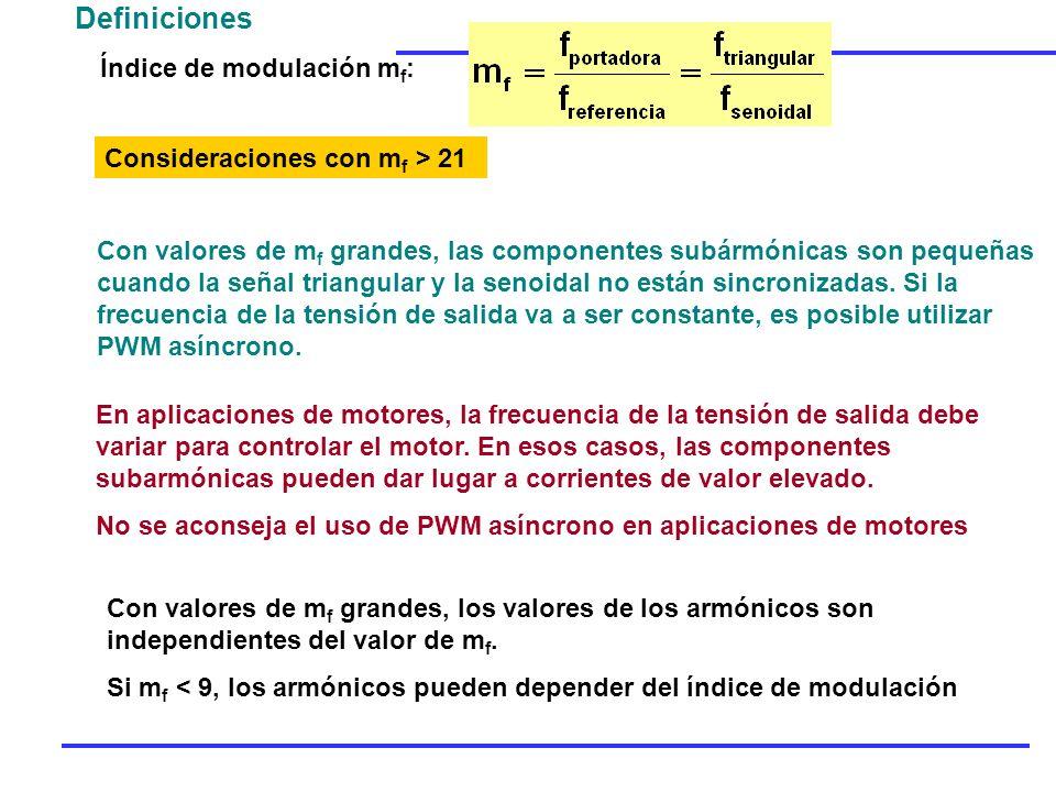 Definiciones Índice de modulación mf: Consideraciones con mf > 21
